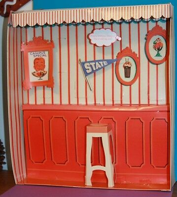 Vintage Barbie Reproduction Allan #770 CAMPUS SWEET SHOP Diorama Backdrop