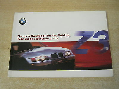 BMW Z3 CONVERTIBLE & Z3 COUPE HANDBOOK- OWNERS MANUAL - OWNERS 1997-2004 genuine