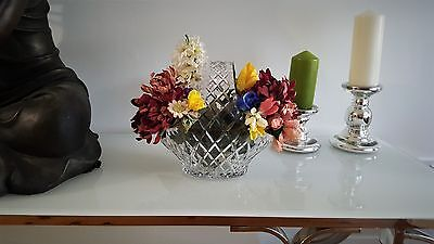 Diamond Cut Crystal Basket with free flowers