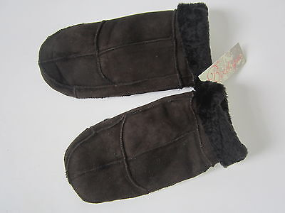 Genuine sheepskin mitts mittens gloves brown one size by Boutique