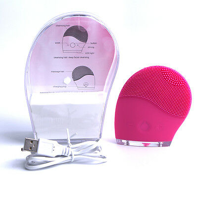Electric Face Cleaning Brush Facial Cleansing Skin Cleanser Massager Silicone
