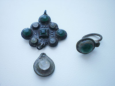 RARE Wearable Medieval Glass Stones PENDANT CROSS Suspension 16-17 century AD