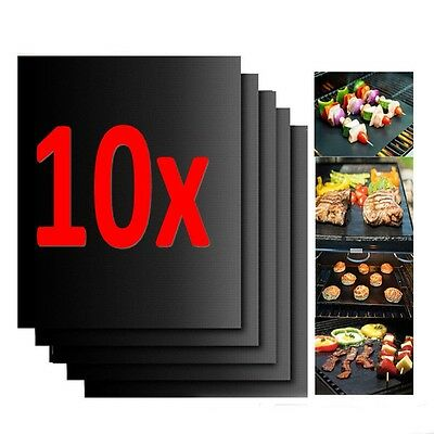10x Reusable Non-stick Black BBQ Grill Mat Barbecue Baking Liner Cooking Sheet