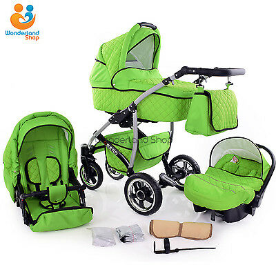 Baby Pram Stroller Pushchair 3in1 Car Seat Carrycot Travel System Buggy FREEBIES