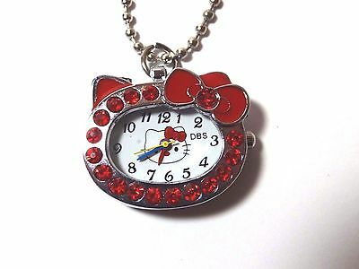 Hello Kitty Watch Pendant Red Rhinestones