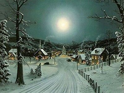 Large Festive Christmas Tree Winter Snow Scene Light Up LED Canvas/Picture