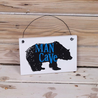 Man Cave Sign - 10 x 15 cm Novelty Quirky Wooden Printed Plaque by Bright Side