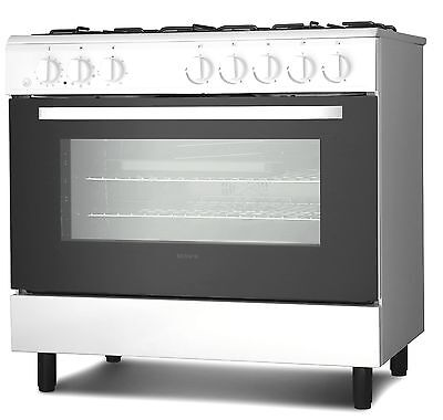 Servis SD900W 90cm Dual Fuel Range Cooker in White | Large Single Electric Oven