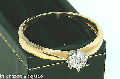 18k 18ct solid gold diamond  cluster ladies ring size N