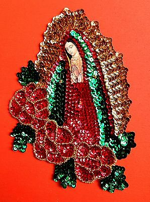 Authentic Mexican Sequinned Applique Patch Virgin of Guadalupe with Roses