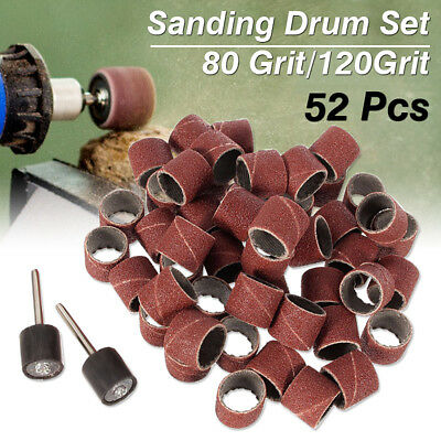 52PCS 1/2'' Sanding Bands Sleeves Kits & 2 Drum Mandrels For Rotary Tool