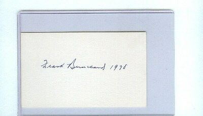 FRANK BUCKLAND SIGNED 3x5 INDEX CARD D1991 NHL HOCKEY HALL OF FAME AUTOGRAPH
