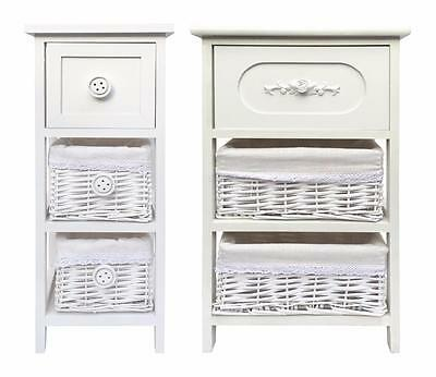 Shabby Chic White 3 Chest of Drawer Hallway Bedroom Bedside Table Unit Cabinet