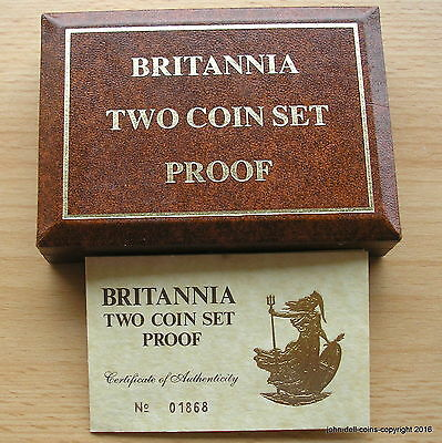 Royal Mint Presentation Box For Britannia 1987 Two Coin Set With Certificate.