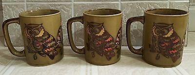 (3) Vintage Owl Coffee Mugs Mid Century Modern Green Orange Yellow Japan LikeNew