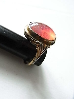 Art Deco Ring rot-rosa Stein Gold Double