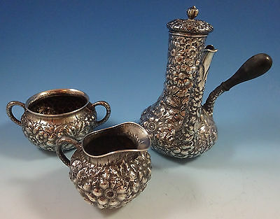 Repousse by Wood and Hughes Sterling Silver Demitasse Set 3pc (#1342)