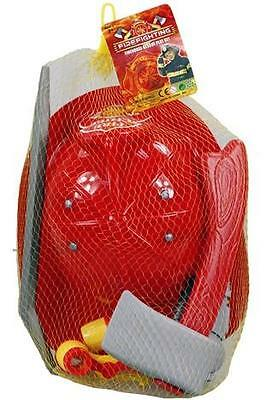 Fireman Helmet + Accessories Kids Boys Fire Chief Rescue Play Set Xmas Gift Toy