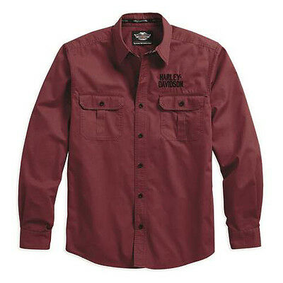 Harley Davidson Mens Embroidered Woven Shirt Red