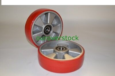 Pair of Brand New Pallet Jack Steer Wheels Poly Tread Aluminium Core w/bearings