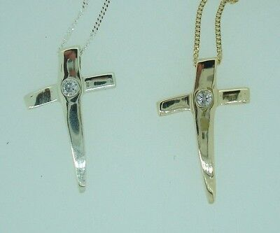 9Ct White & Yellow Gold Solitaire Diamond Dagger Cross Pendant Gift +Chain