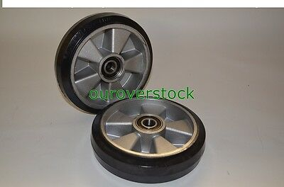 Pair of Brand New Pallet Jack Steer Wheels Rubber / Aluminium 8 x 2 w/bearings