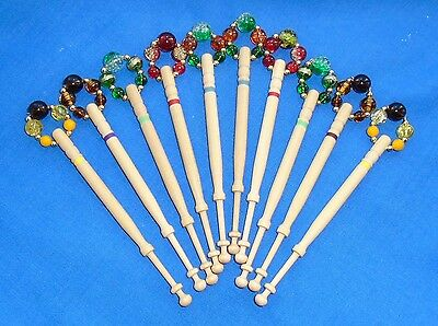 5 PRS (10) LEMON WOOD LACE BOBBINS SPANGLED QUALITY BEADS      Ref H41