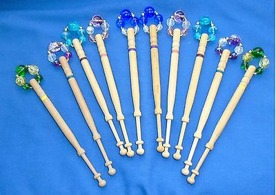 H1   5 Prs (10) Lemon Wood Lace Bobbins Spangled With Quality Beads