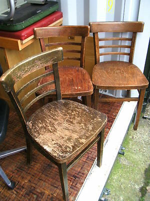 set 3 vintage pine wood chairs for upcycling