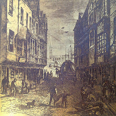Engraved Style Copper Plate 'the Bridge-Foot Southwark In 1810'