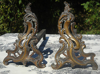 French Firedogs Andirons Superb Antique Bronze Ornate Pair Rococo LouisXV Design