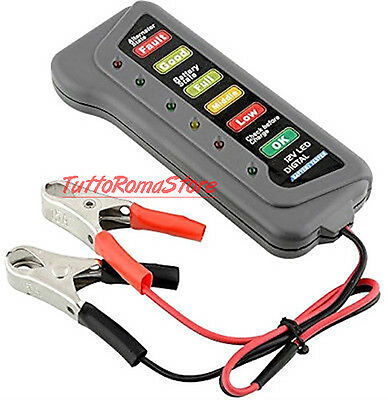 Tester Batteria 12 V E Dinamo Alternatore Indicatori Led Auto Moto 12V Controllo
