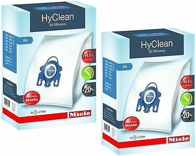 8 x Genuine MIELE GN Hyclean Vacuum Hoover Dust Bags C2 C3 Cat & Dog + 4 Filters