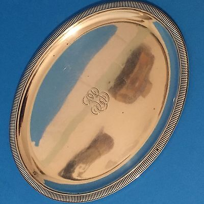 French 950 Silver Oval Salver Tray by Odiot Paris- Royal Supplier