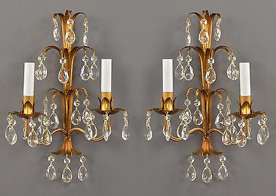 Gilded Tole French Crystal Wall Sconces c1950 Vintage Antique French Style