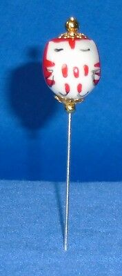 Pin Divider Wise Old Owl Bead    Red     Hand Made & Painted Porcelain