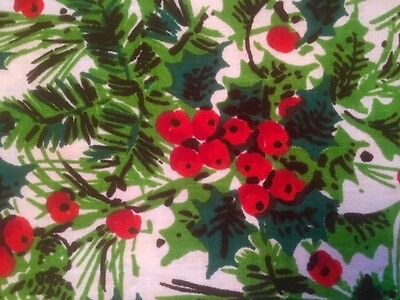 Vintage Springs Fabric Holly Berries Christmas Green Red White Cotton 2+ Yards