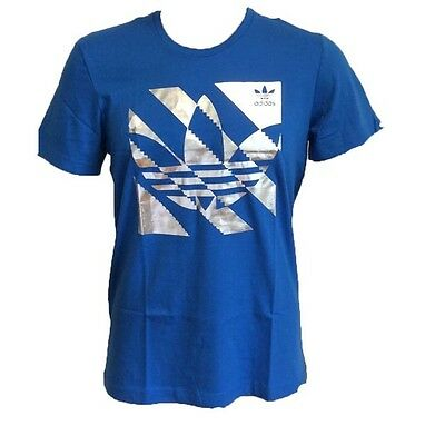 Adidas originals men's retro royal blue silver foil t shirt L large 42/44 Bnwt