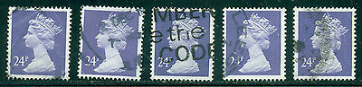 Great Britain Sg-X967, Scott # Mh-124 Machin Used, 5 Stamps, Great Price!