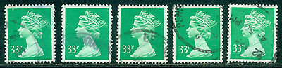 Great Britain Sg-984, Scott # Mh-146 Machin Used, 5 Stamps, Great Price!
