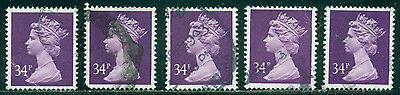 Great Britain Sg-X987, Scott # Mh-152 Machin Used, 5 Stamps, Great Price!