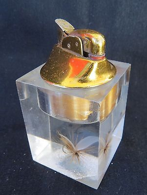 Vintage Evans Lucite Fishing Fly Table Lighter ~ Clear Resin Acrylic ~ Lure Hook