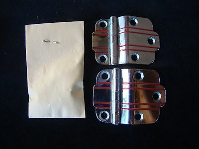 "VTG NOS CHROME Cabinet Door Hinges RED Lines 3/8"" Offset National Lock Art Deco"