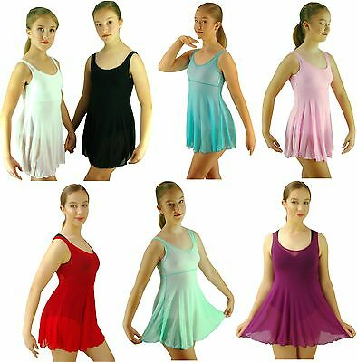 Black White Purple Red Lyrical Ballet Dance Mesh Dress Costume - 6 8 10 12 14