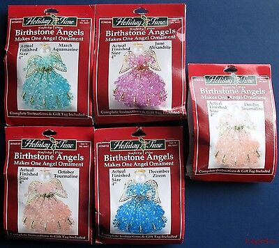 Holiday Time BIRTHSTONE ANGELS Christmas Ornament Beading Kit Lot of Five VTNS