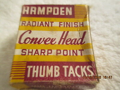 Vintage BOX of Hampden Radiant Finish Convex Herad Sharp Point THUMB TACKS