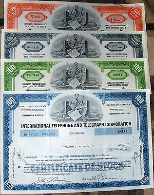 16 different.  International Telephone & Telegraph Corporation stock certificate
