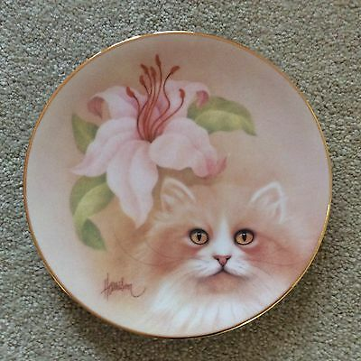 """Save Cats!  The Hamilton Petals and Purr Cat Plate Collection 8 1/2"""" gold rim"""