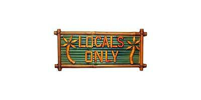 Locals Only Bamboo Sign with Palm Trees in Green and Natural [ID 27313]
