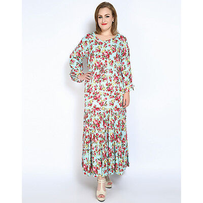 Womens Long Maxi Bohemian Plus Size Flower Embroidered Cotton Tunic Casual Dress